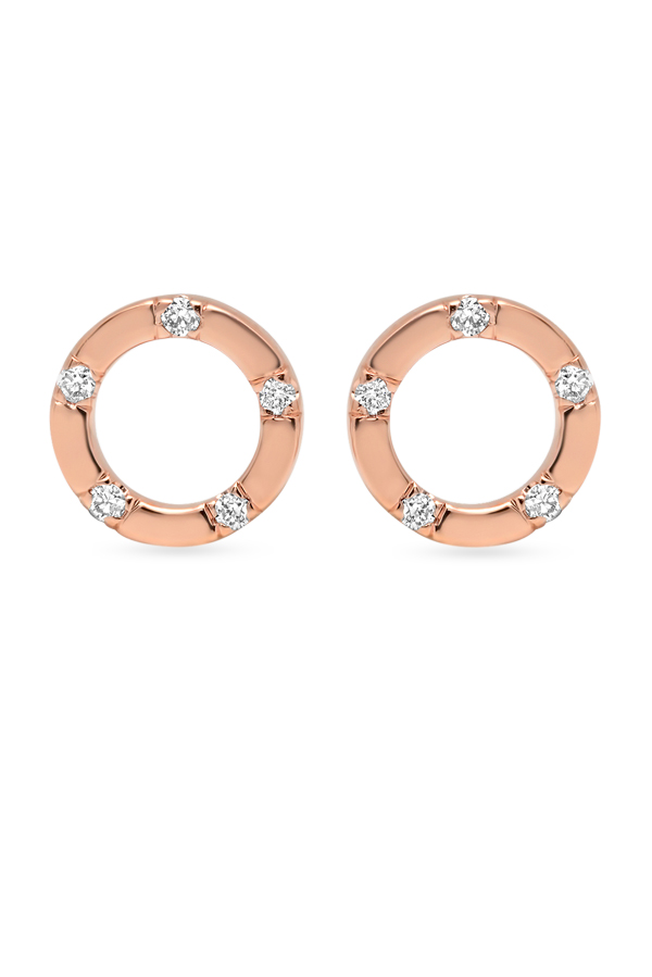 Switch - Simple Diamond Circle Studs  18k Rose Gold  View 1