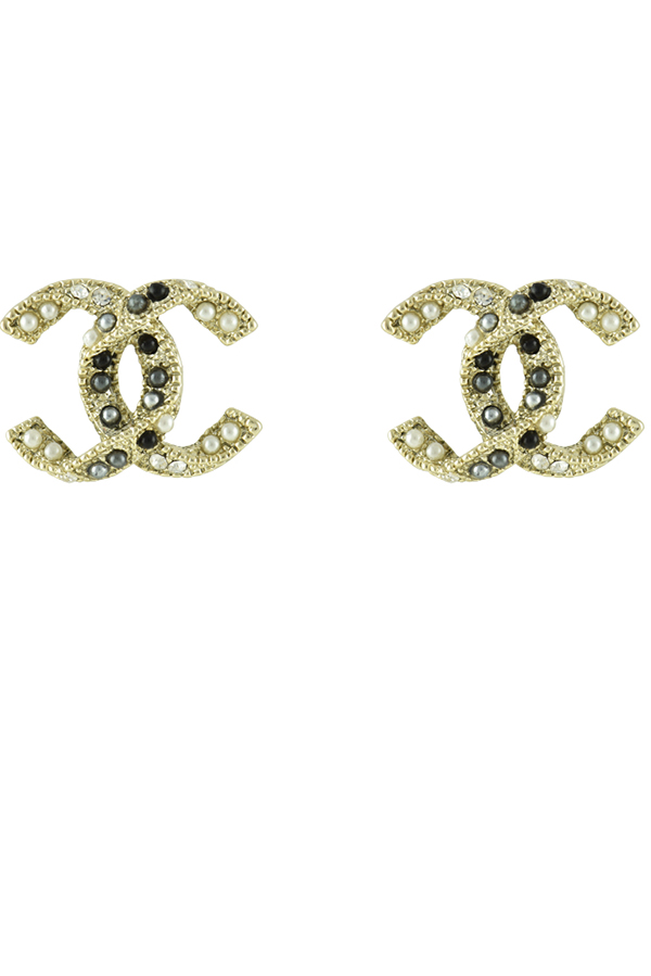 Chanel - CC Logo Stud Earrings with Black and Silver beads
