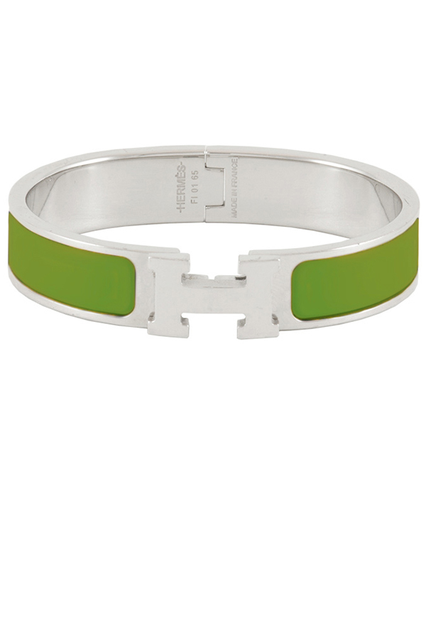 Hermes - Narrow Clic H Bracelet (Leaf Green/Palladium Plated) - PM