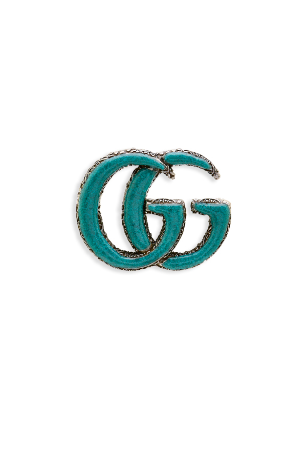 Gucci - Enameled Double G Brooch