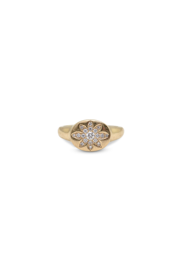 Do Not Disturb - The Lucerne Signet Ring (14k Yellow Gold and Diamonds) - Size 6