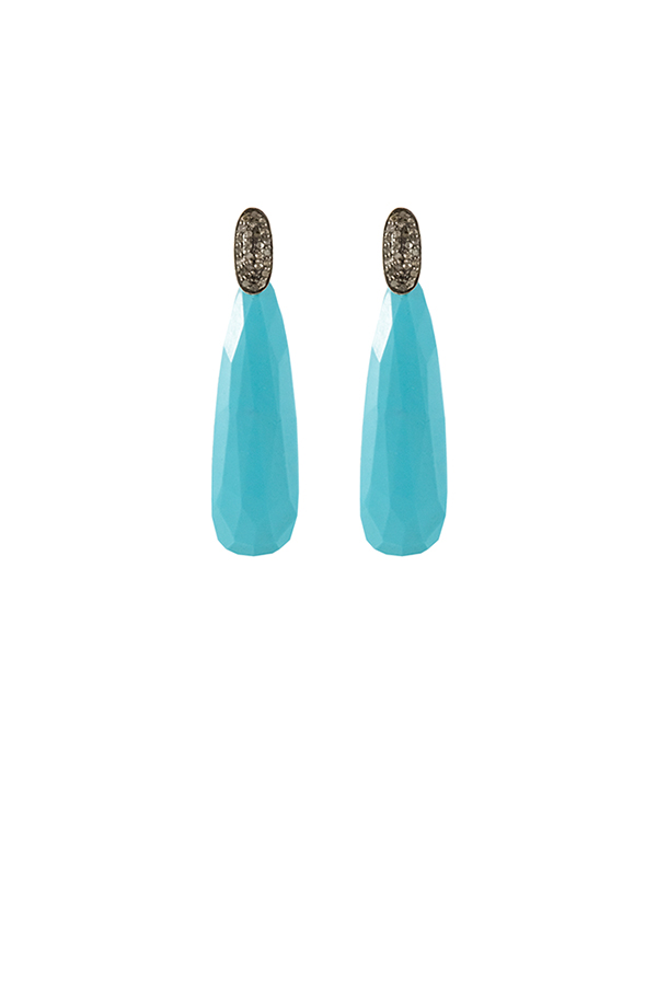 Chains and Pearls - Turquoise Stud Earrings