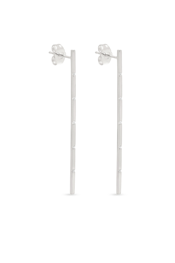 Switch - Simple Diamond Long Bar Earrings (18k White Gold)