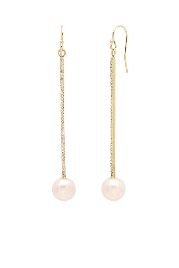 Chains and Pearls - Long Bar and Pearl Earrings (14k Yellow Gold)
