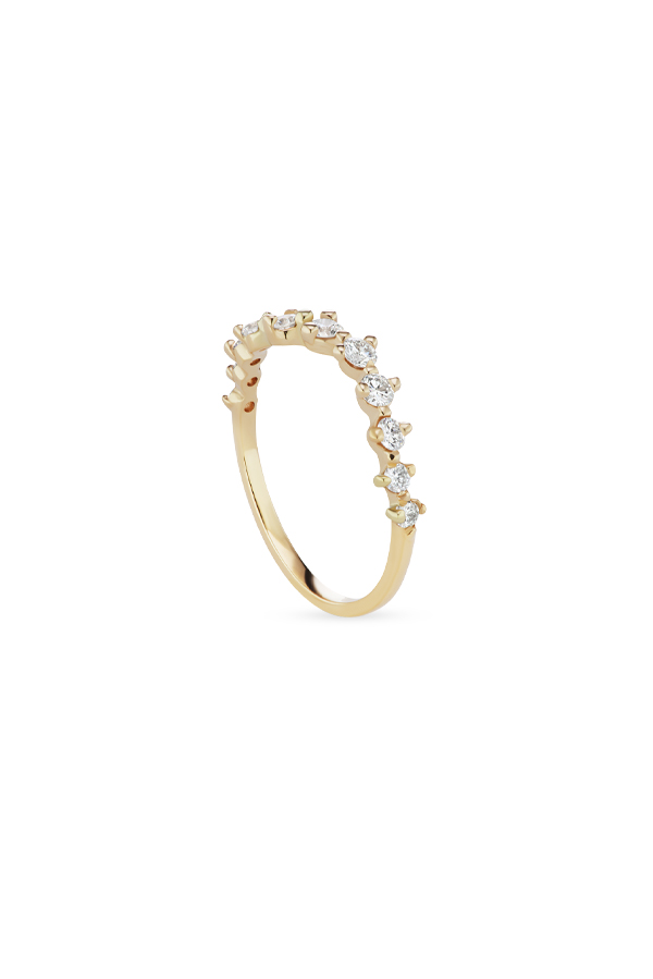 Sophie Ratner - Half Band Diamond Swell Ring - Size 6