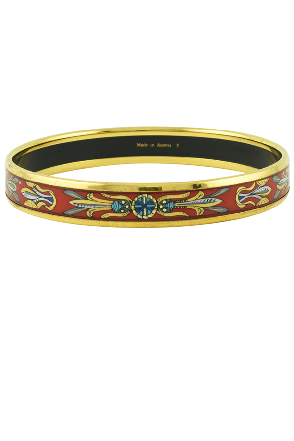 Hermes - Narrow Printed Enamel Bracelet (Red/Gold)