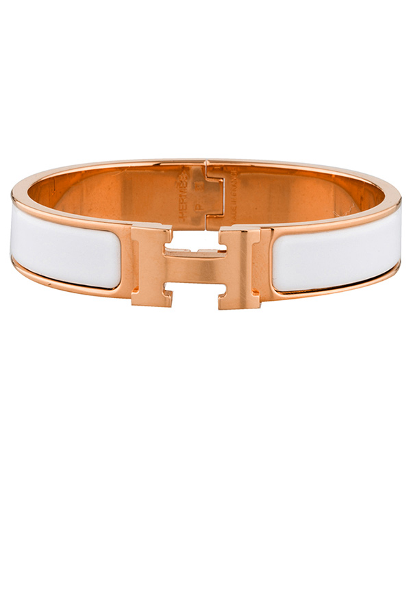 Hermes - Narrow Clic H Bracelet (Blanc/Rose Gold Plated) - PM