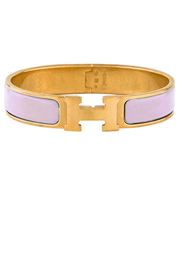 Hermes - Narrow Clic H Bracelet (Rose Dragee/Yellow Gold Plated) - PM