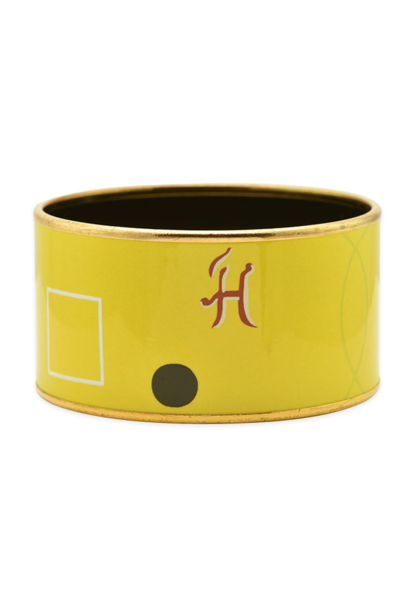 Hermes - Extra Wide Enamel Bangle (Yellow With Abstract Print)