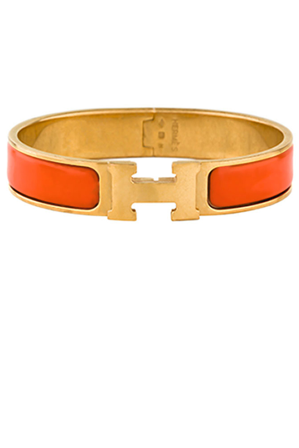 Hermes - Narrow Clic H Bracelet (Orange/Yellow Gold Plated) - GM