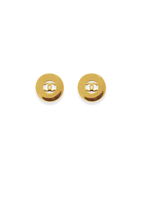 Chanel - Vintage Circle CC Logo Cut Out Clip On Earrings