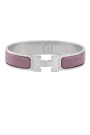 Hermes - Narrow Clic H Bracelet  Rose Pink Palladium Plated    PM View 1