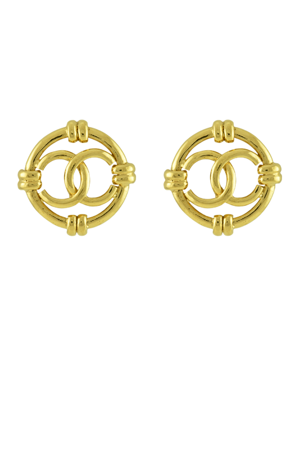 Chanel - CC Logo Cut Out Motif Clip On Earrings