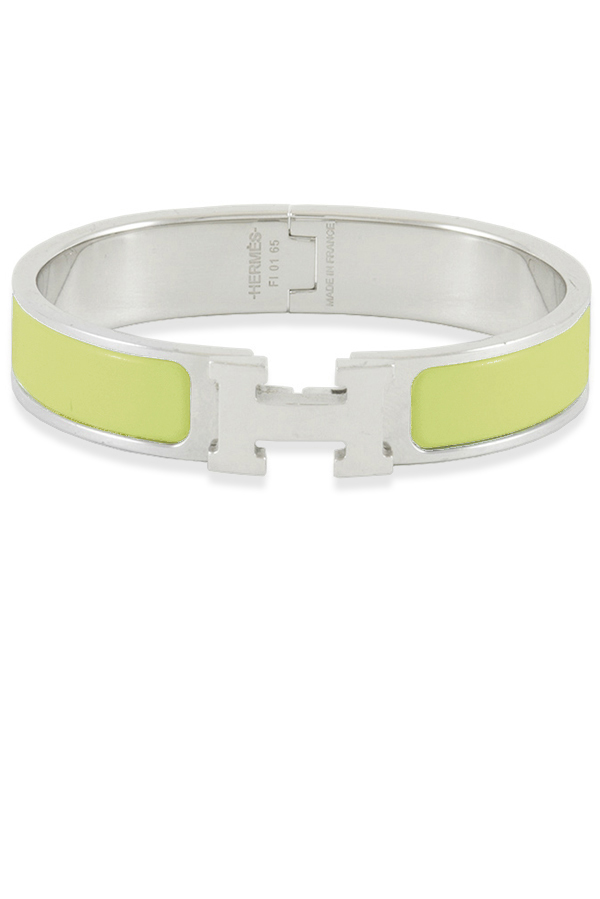 Hermes - Narrow Clic H Bracelet (Light Green Yellow/Palladium Plated) - PM