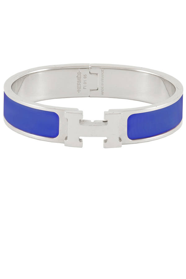 Hermes - Narrow Clic H Bracelet (Cobalt Blue/Palladium Plated) - GM