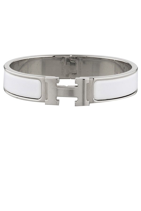 Hermes - Narrow Clic H Bracelet (White/Palladium Plated)