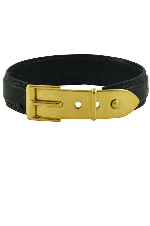 Gucci - Vintage Narrow Logos Python Bangle (Black)