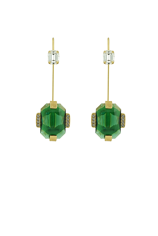 Marni - Strass Earrings (Green Stone)