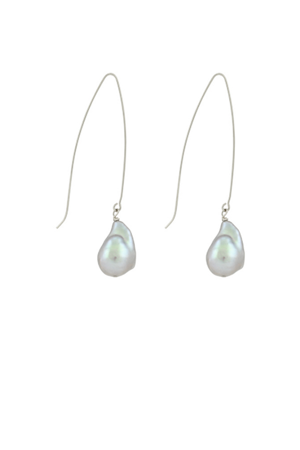 Chains and Pearls - 14-karat White Gold Baroque Pearl Earrings