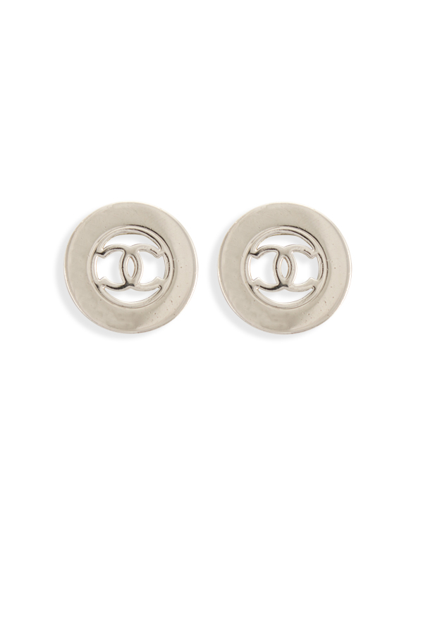 Chanel - Silver CC Logo Clip On Earrings