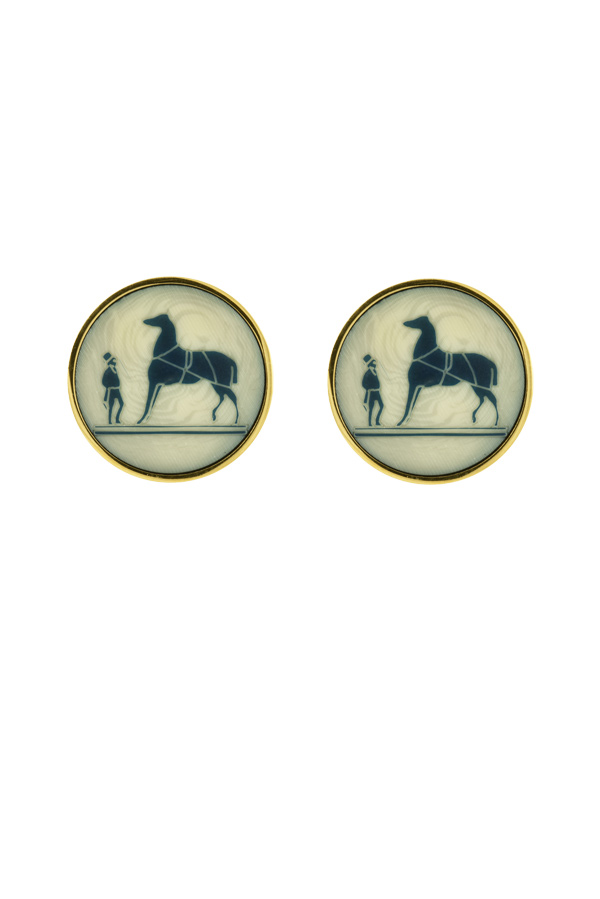 Hermes - Vintage Horse Graphic Clip On Earrings