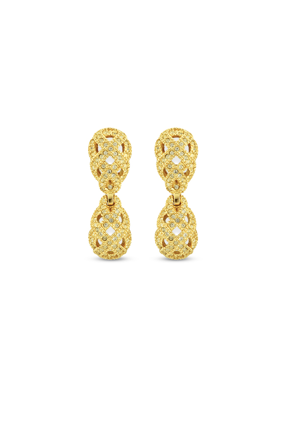 Christian Dior - Vintage Rhinestone Embellished Basket Weave Earrings