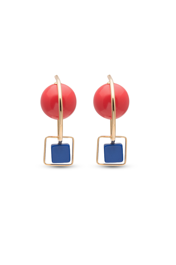 Marni - Red and Blue Resin and Metal Hook Earrings