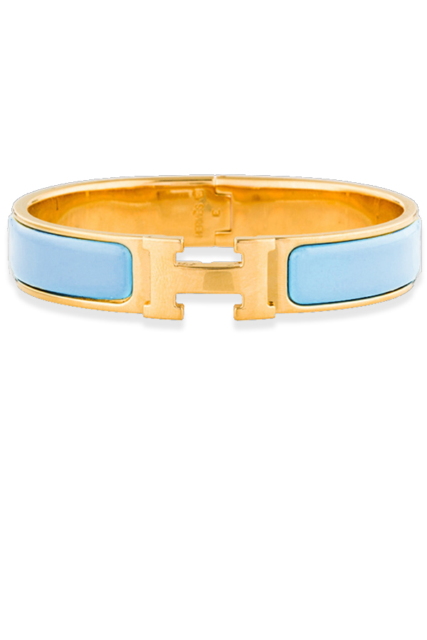 Hermes - Narrow Clic H Bracelet (Pale Turquoise/Yellow Gold Plated) - PM