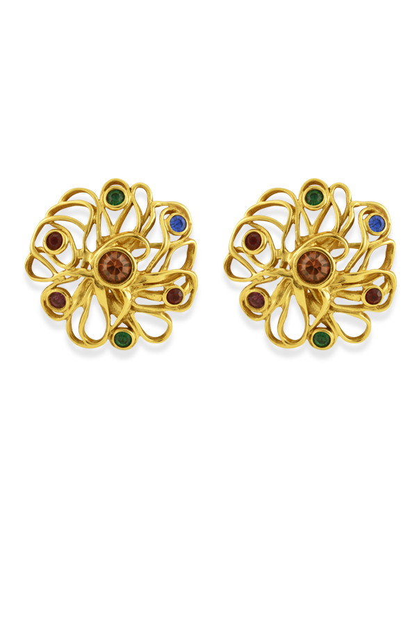 Yves Saint Laurent - Vintage Multi Stone Floral Twist-On Earrings