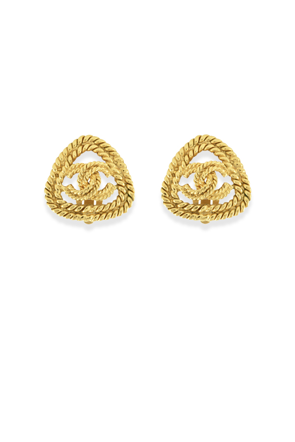 Chanel - Vintage Triangular Logo Cut Out Clip On Earrings