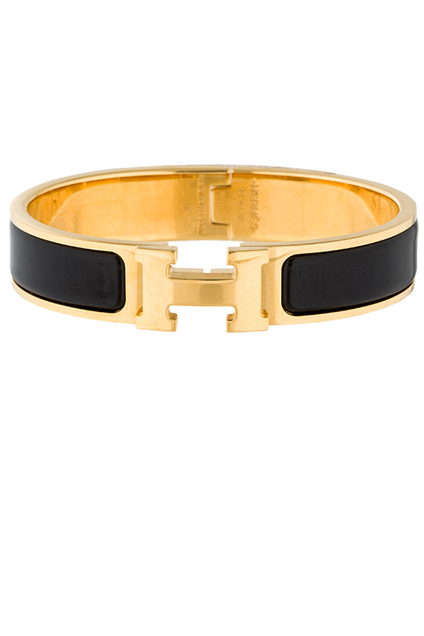 Hermes - Narrow Clic H Bracelet (Black/Yellow Gold Plated) - PM