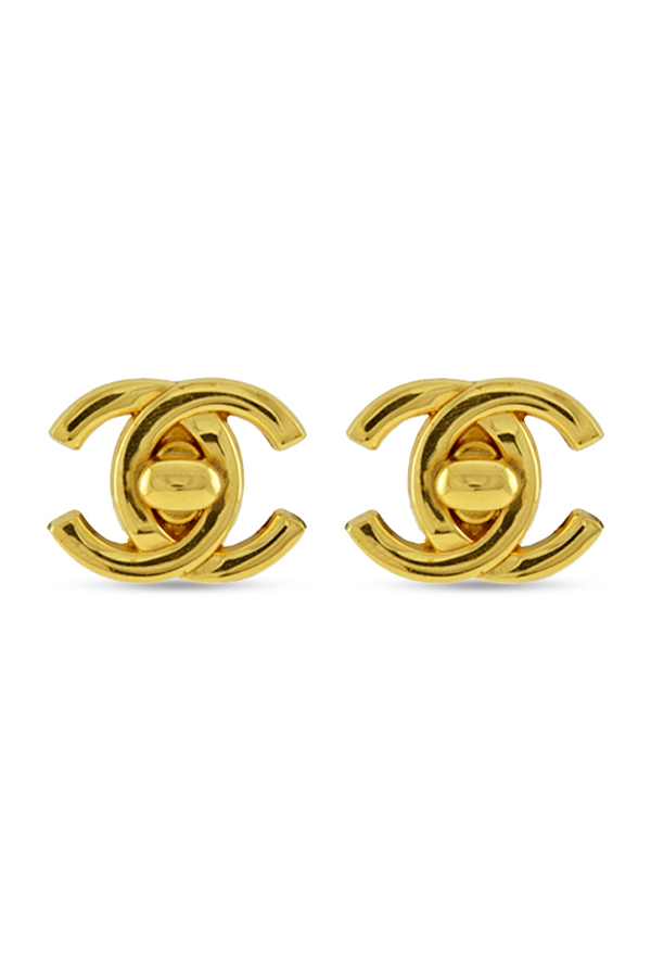 Chanel - Large Vintage Turn-Lock Logo Clip-On Earrings (Gold)