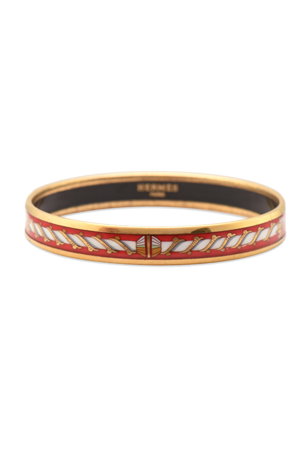 Hermes - Enamel Bangle  Red White   Gold  View 1