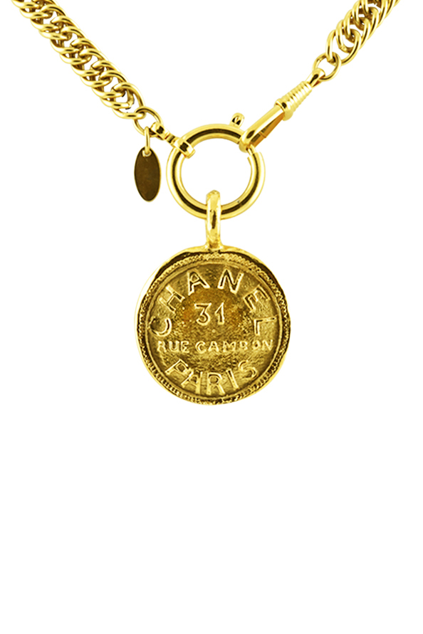 Chanel - Vintage 31 Rue Cambon Medallion on Long Double Link Chain