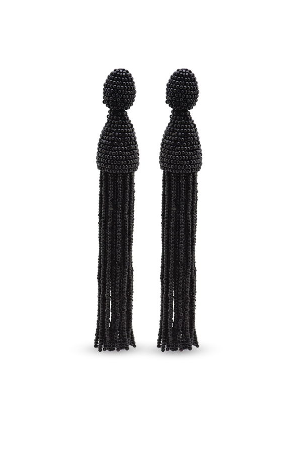 Oscar De La Renta - Black Long Beaded Tassel Earrings
