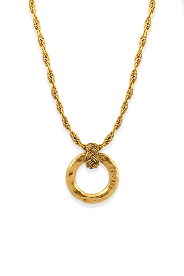 Chanel - Vintage Hammered Round Pendant Necklace