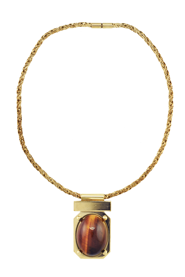 Chloe - Tiger Eye Pendant Necklace View 1
