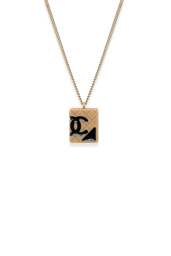 Chanel - Quilted CC Rectangle Charm Pendant Necklace (Gold-tone)