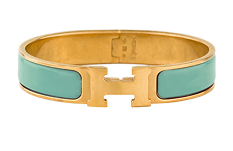 Hermes - Narrow Clic H Bracelet (Turquoise/Yellow Gold Plated) - PM