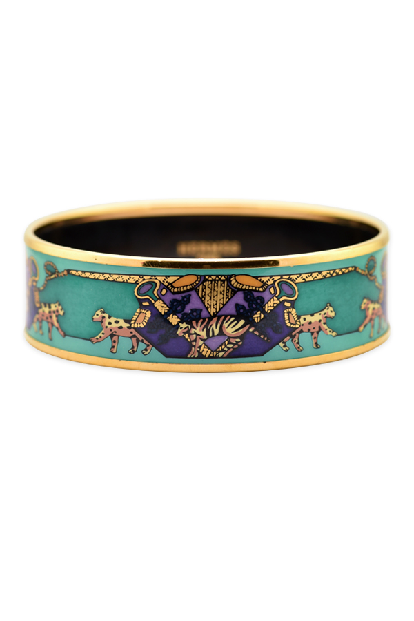 Hermes - Wide Enamel Bangle With Animal Motif (gold/green/purple)