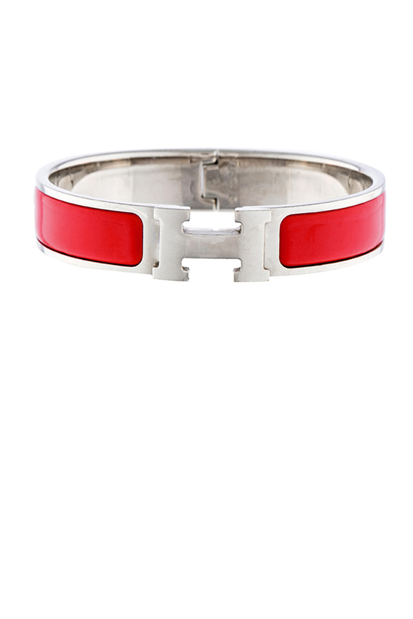 Hermes - Narrow Clic H Bracelet  Red Palladium Plated    PM View 1