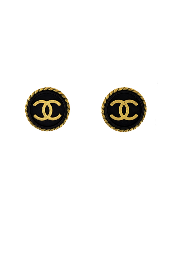Chanel - Vintage Small Black and Gold Clip On Earrings View 1