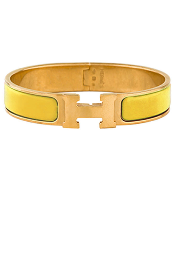 Hermes - Narrow Clic H Bracelet (Mustard/Yellow Gold Plated) - PM