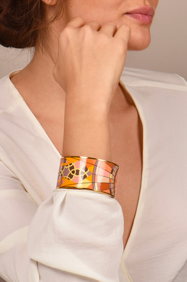 Hermes - Extra Wide Enamel Bangle  Multicolor Star Motif  View 2