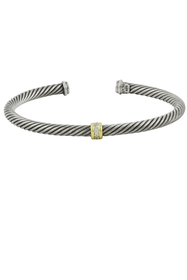 David Yurman - 4mm Cable Classic One-Station Bracelet With Gold And Diamonds
