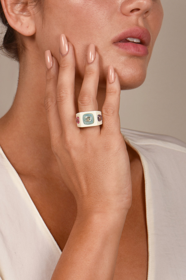 Chanel - CC Resin Band Ring - Size 6.5