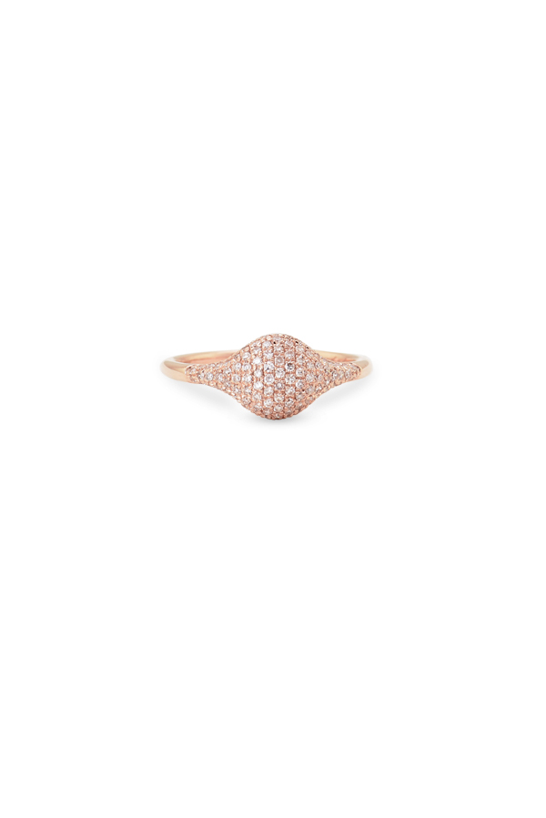 Do Not Disturb - The Kyoto Signet Pinky Ring (14k Rose Gold & Diamonds) - 4.5