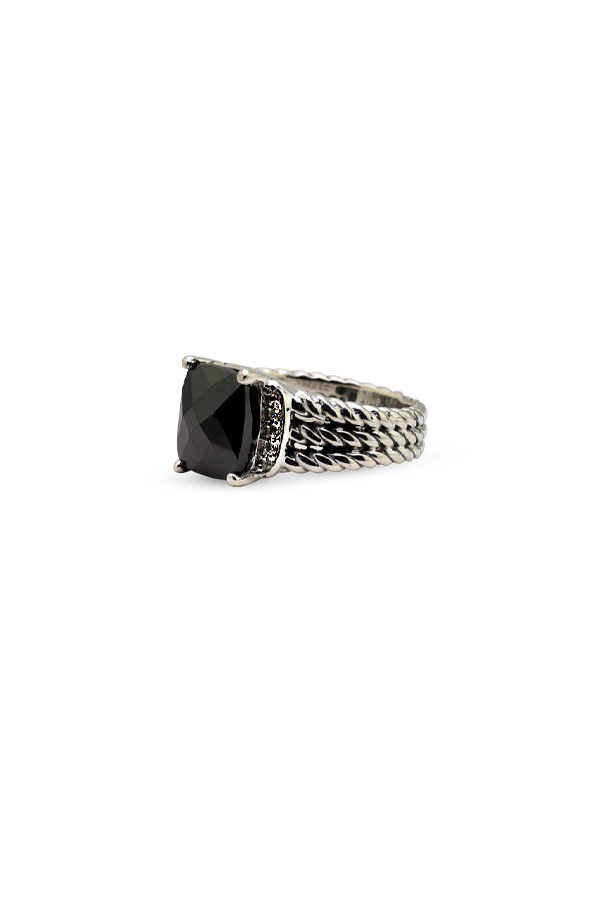 David Yurman - Petite Wheaton Ring (Onyx and Diamonds) - Size 5.5