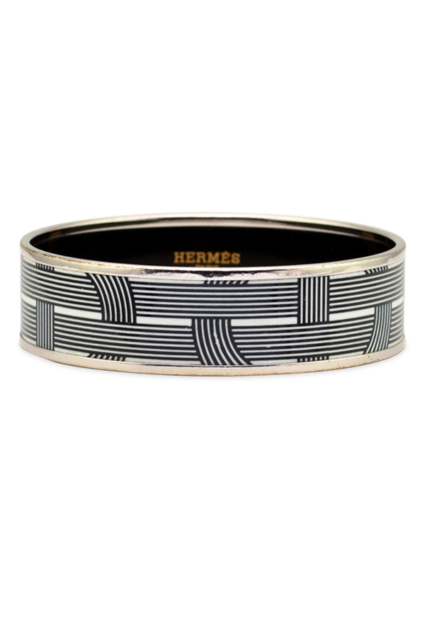 Hermes - Wide Enamel Bracelet  Black White Stripe  View 1
