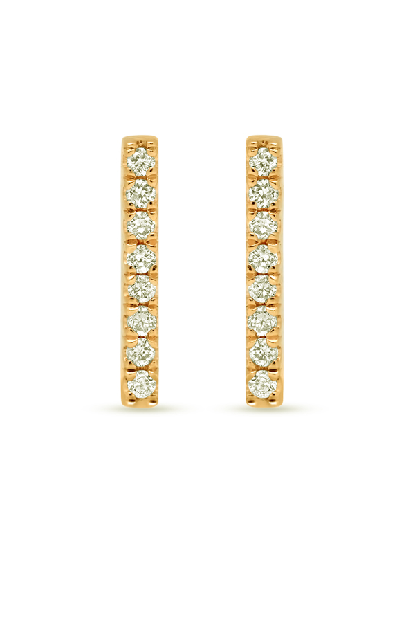 Switch - Diamond Short Bar Studs (18k Yellow Gold)